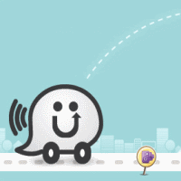 The waze car logo showing a happy driving car